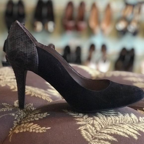 Moda Spana low python black heels